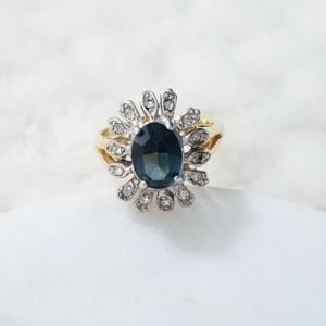 Ring | Dark Blue Stone Mixed Metal Color Ring